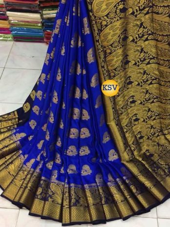 Nylon silk saree with rich pallu