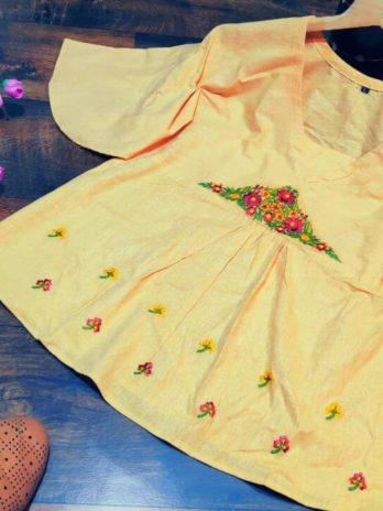 Heavy Two Tone Cotton Slub Short tops with Beautiful Embroidery