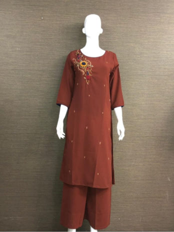 Pure Georgette Fabric Handwork Kurti with Pant