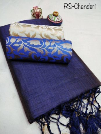 Plain Chanderi Sarees with Two Jacquard Blouse